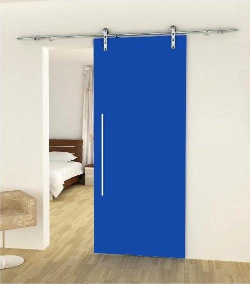 porta vetrata laccata blu