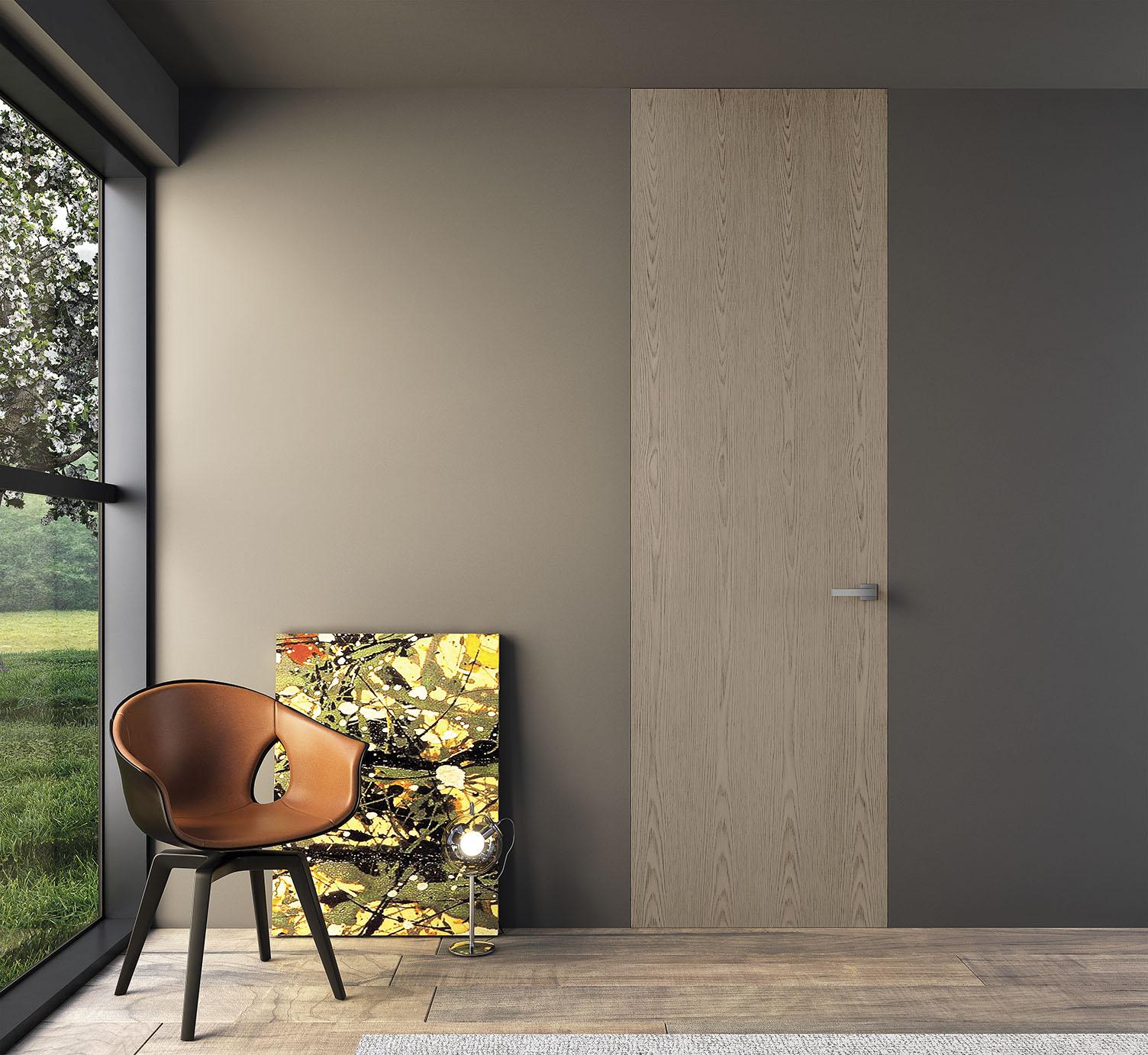 porte in legno raso muro
